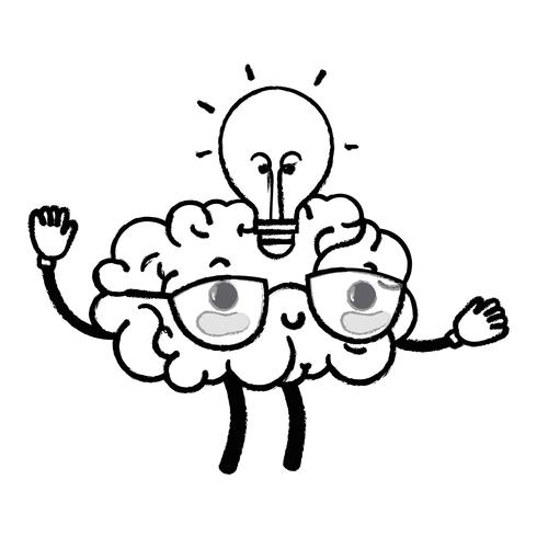 figuur kawaii gelukkig brein met lamp idee