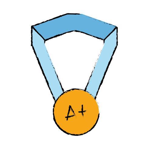 symbole de la médaille scolaire à un étudiant intelligent