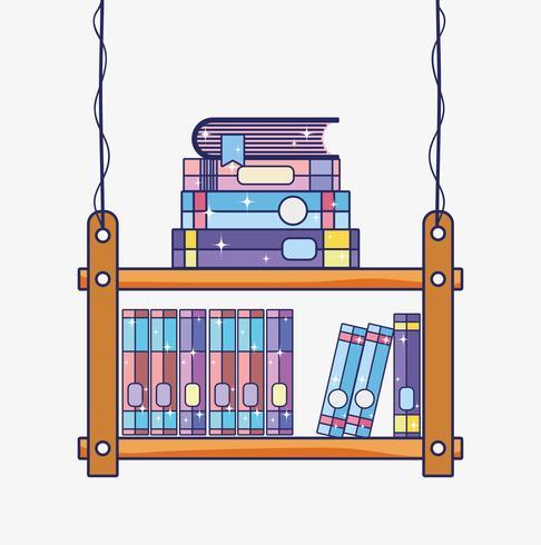 Dibujos animados de biblioteca de madera