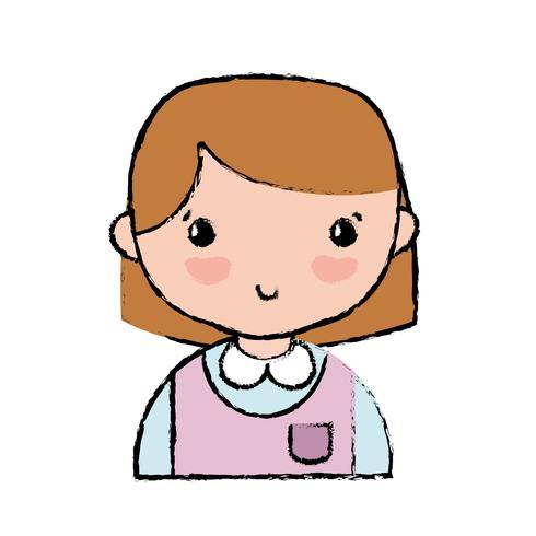 casual meisje met kapsel en uniform blouse