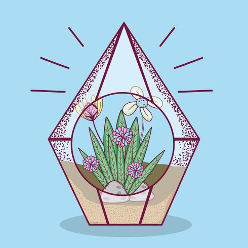 Plante à l'intérieur du verre polyèdre