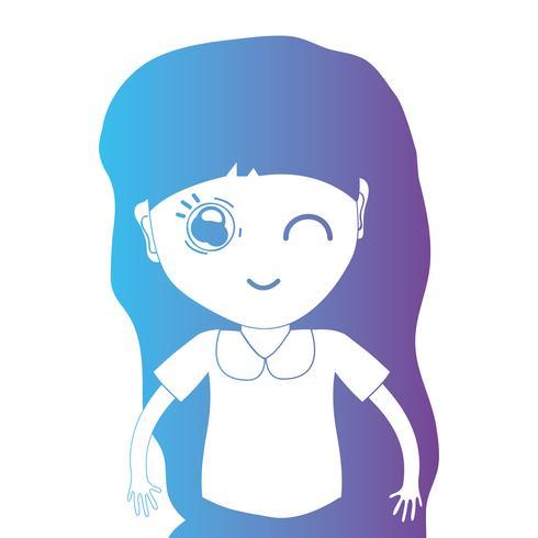 ligne avatar fille avec coiffure et chemisier