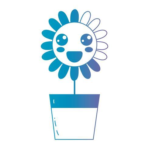 ligne kawaii jolie fleur heureuse