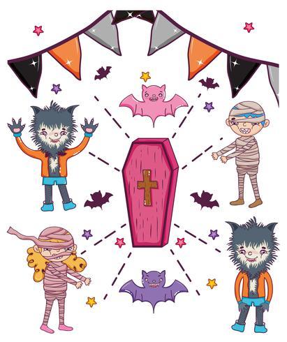 Set of hallooween character cartoons vector