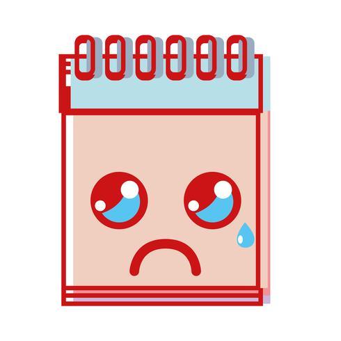 strumento per notebook kawaii che piange