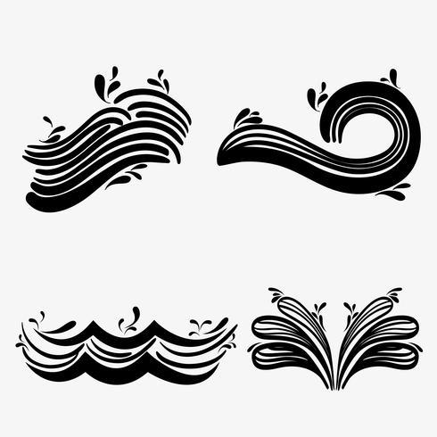 establecer olas del mar con diferentes formas de diseño