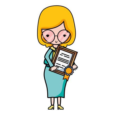 Profesora con gafas y certificado de diploma.