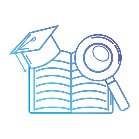 line notebook and cap graduation with magnifying glass
