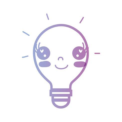 line kawaii cute happy bulb idea