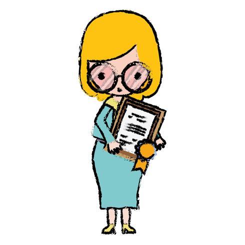 insegnante con occhiali e certificato di diploma