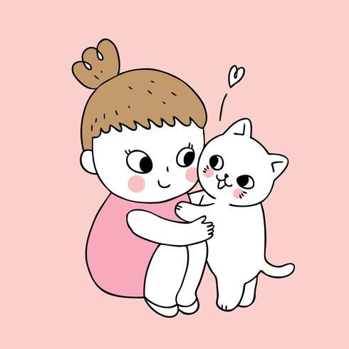 Netter Mädchen- und Katzenvektor der Karikatur.