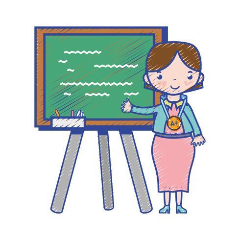 Lehrer unterrichtet Klassenstunde in der Rückwand