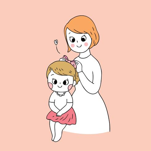 Cartoon cute mother and daughter vector.