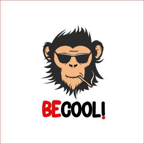 Clipart fresco creativo dell'illustrazione di vettore della scimmia