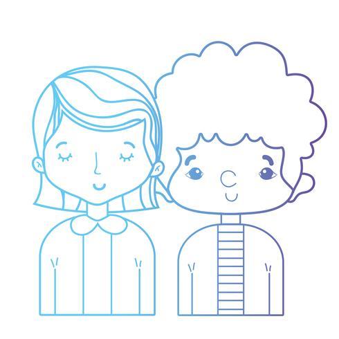 casal de beleza de linha juntamente com design de penteado