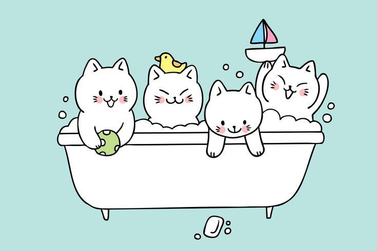 Vettore sveglio del bagno dei gatti del fumetto.
