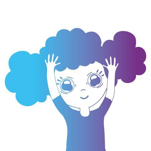 garota de avatar de linha com penteado e blusa