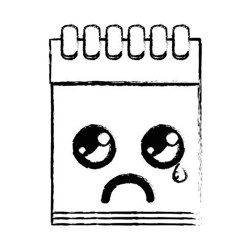 figura kawaii bonito chorando ferramenta de caderno