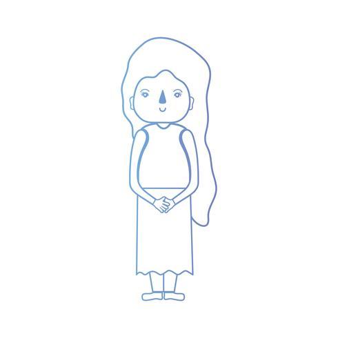 linha mulher com penteado e roupas
