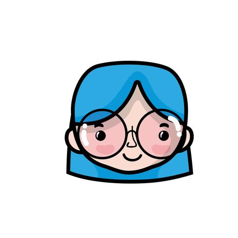 avatar vrouw hoofd met kapsel ontwerp
