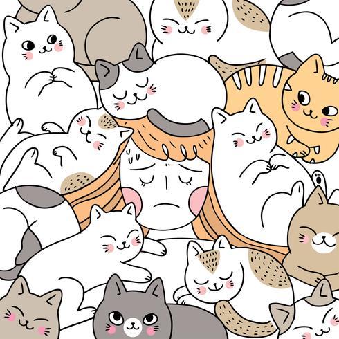 Donna sveglia del fumetto che dorme e vettore del gatto.