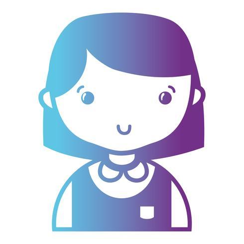 garota casual de linha com penteado e blusa uniforme