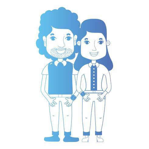 ligne couple avec coiffure et vêtements