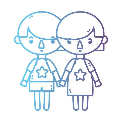 line children together with hairstyle design