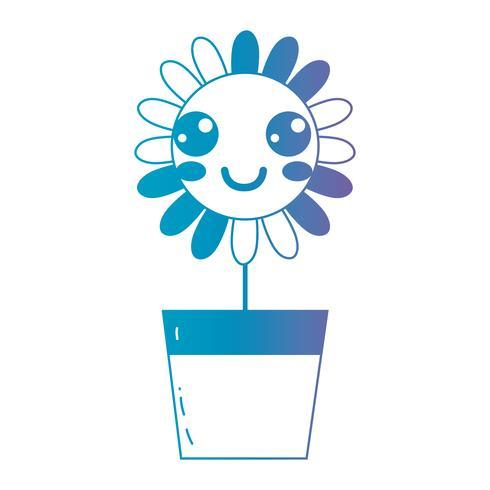 linha kawaii bonito feliz flor