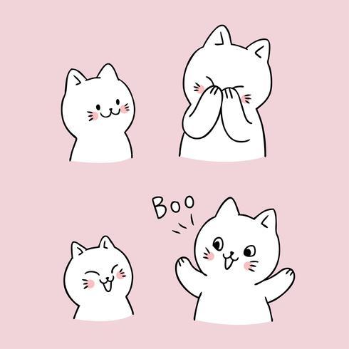 Chat mignon dessin animé peek un vecteur boo. , Telecharger