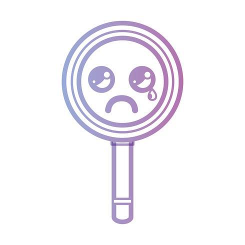line kawaii cute crying magnifying glass