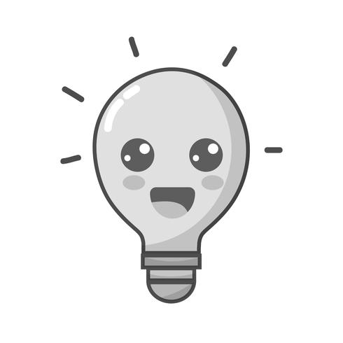 grayscale kawaii cute happy bulb idea