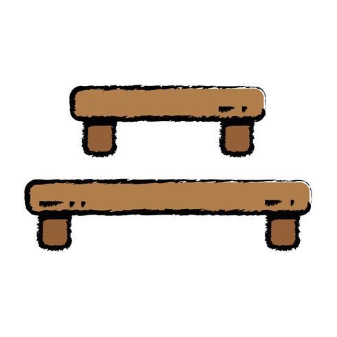 estante de madera doodle diseño de la mesa vector