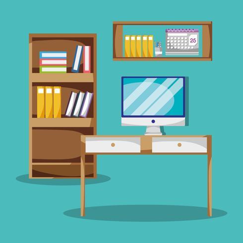 mesa com acessórios de escritório plana para trabalhar