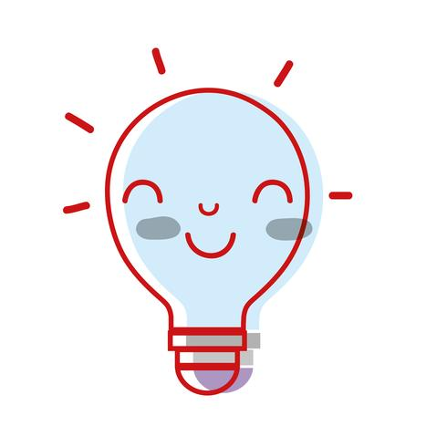 ideia feliz bonito do bulbo do kawaii