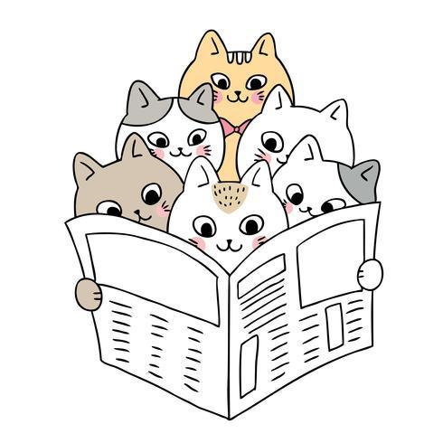 Chats mignons de bande dessinée lisant le vecteur de nouvelles.