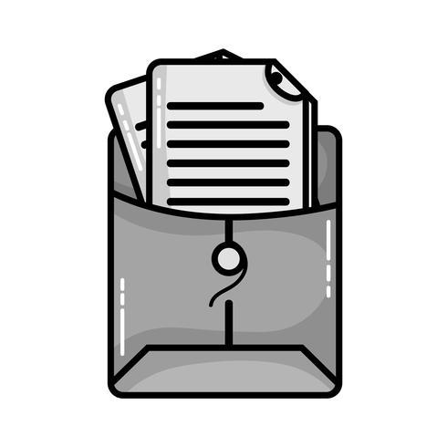 pasta de arquivos em tons de cinza com informações do documento comercial