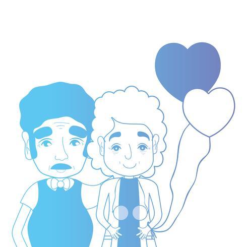 casal de linha togeter com penteado e balões de corações