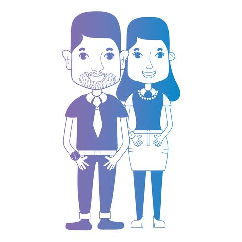 casal de linha junto com penteado e roupas