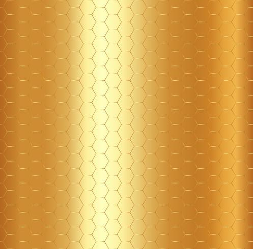 Modelo de oro abstracto del hexágono en fondo metálico del oro.