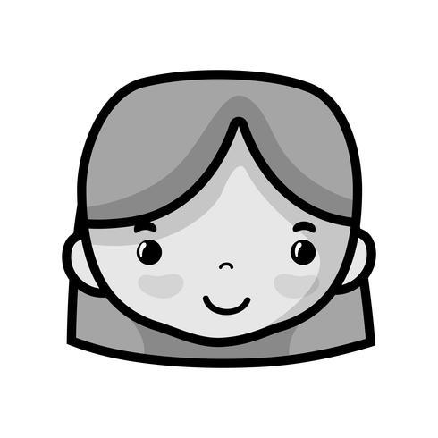 Graustufen-Avatar-Frauenkopf mit Frisurendesign