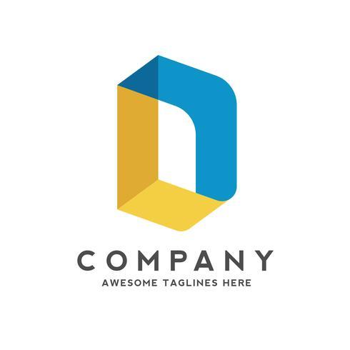 bokstav d färgglada isometrisk stil logotyp