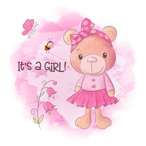 Ejemplo dibujado mano linda del vector de la historieta del oso