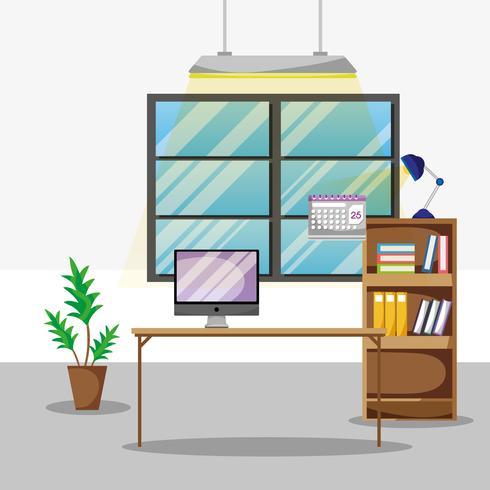 skrivbord med kontorstillbehör som fungerar