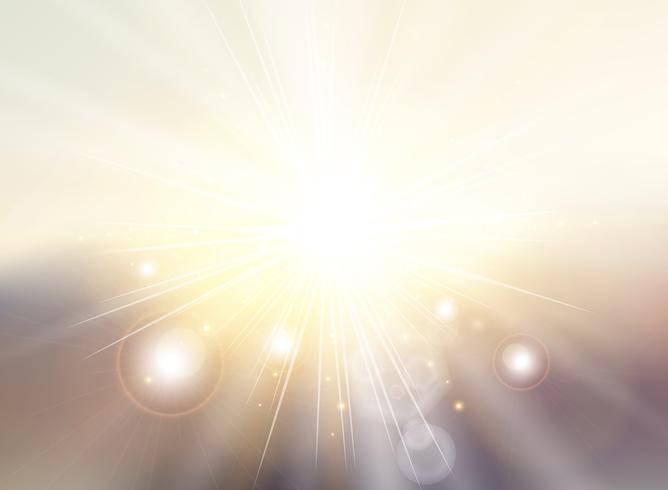 Himmel med solljusstrålar skymning suddig tonad abstrakt bakgrundslandskap. Vårsommar vektor