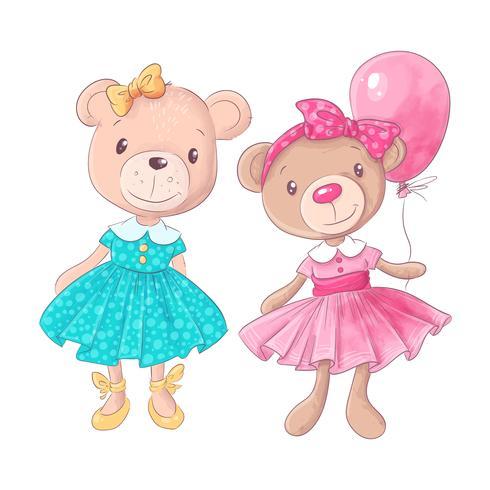Illustrazione disegnata a mano di vettore del fumetto sveglio dell'orso