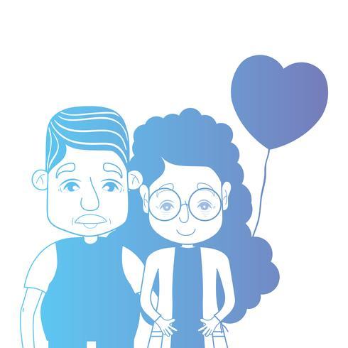 ligne couple togeter avec des ballons de coiffure et coeurs