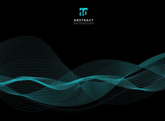 Abstract dots pattern blue particle waves on dark background with copy space. vector