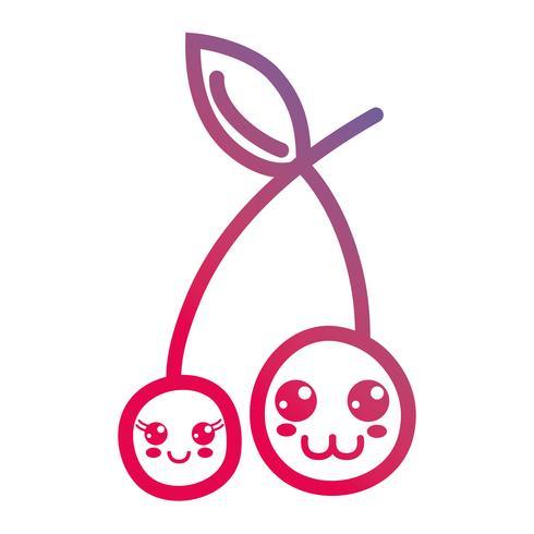 lijn kawaii schattig kersenfruit