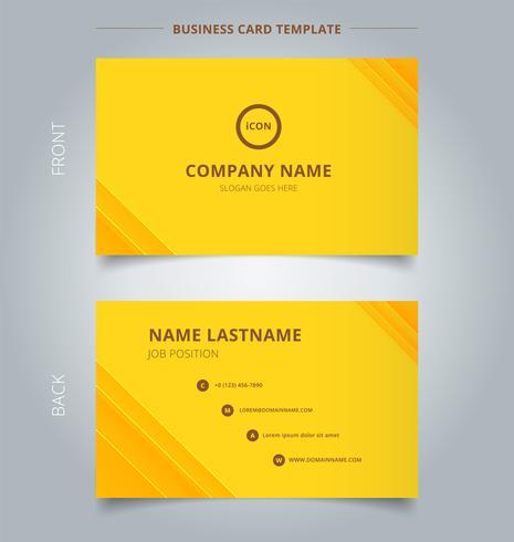 Carte de visite créative et technologie de modèle de carte de visite nom rayé chevauchant des lignes diagonales superposées motif de couleur jaune.